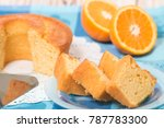 homemade orange cake on a table ... | Shutterstock . vector #787783300