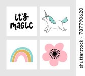four cards with unicorn ...   Shutterstock .eps vector #787790620