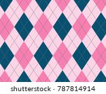 pink and ink blue argyle... | Shutterstock .eps vector #787814914