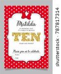 tenth birthday invitation for...   Shutterstock .eps vector #787817314