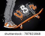 stylish skater in jeans and...   Shutterstock .eps vector #787821868