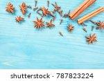 star anise  cinnamon sticks and ... | Shutterstock . vector #787823224