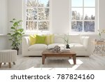 white room with sofa and winter ... | Shutterstock . vector #787824160