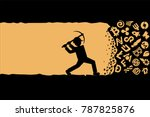 miner working with pickaxe.... | Shutterstock .eps vector #787825876