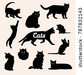 Stock vector cat silhouette collection 787832143