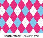 pink and light blue argyle... | Shutterstock .eps vector #787844590