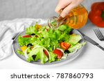 woman adding tasty apple... | Shutterstock . vector #787860793