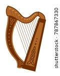 celtic triangular harp. folk... | Shutterstock .eps vector #787867330