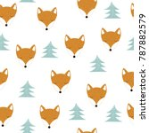 seamless pattern with cute fox... | Shutterstock .eps vector #787882579