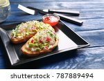 plate with tasty fresh... | Shutterstock . vector #787889494