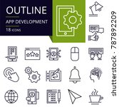set of outline icons of app...