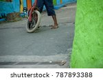 old bikecycle with barefoot boy ... | Shutterstock . vector #787893388