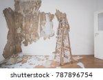 ladder in empty room  flat... | Shutterstock . vector #787896754