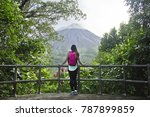 female hiker looking out at the ... | Shutterstock . vector #787899859