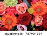 mixed flower arrangement ... | Shutterstock . vector #787904989