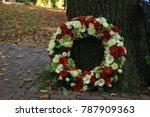 classic sympathy wreath near a... | Shutterstock . vector #787909363