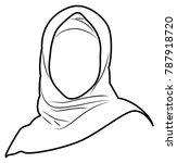 vector line drawing of muslim... | Shutterstock .eps vector #787918720