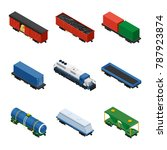 trains isometric set of freight ... | Shutterstock .eps vector #787923874