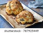 whole roast cauliflower stuffed ... | Shutterstock . vector #787925449