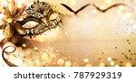 venetian golden mask on shiny...   Shutterstock . vector #787929319