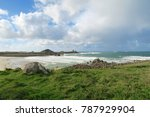 view to the beach from green... | Shutterstock . vector #787929904