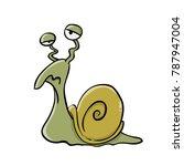 slow sleepy snail   Shutterstock .eps vector #787947004