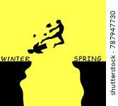 a man jumping over a precipice...   Shutterstock .eps vector #787947730