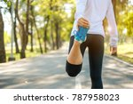 young fitness woman legs... | Shutterstock . vector #787958023