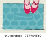 retro concept welcome mat with... | Shutterstock .eps vector #787964560