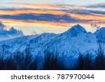 alaska colorful mountain sunset | Shutterstock . vector #787970044