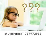 question marks with little girl ... | Shutterstock . vector #787973983