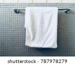 towel hanging on tile wall | Shutterstock . vector #787978279