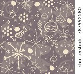 cute pattern with winter... | Shutterstock .eps vector #787992580