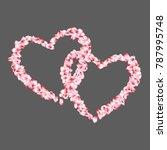 heart shape of sakura petals... | Shutterstock .eps vector #787995748