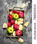 red and green apples in a... | Shutterstock . vector #788003314
