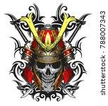 skull samurai ornate vector... | Shutterstock .eps vector #788007343