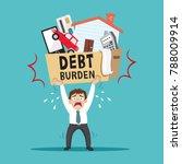 businessman carrying heavy debt ... | Shutterstock .eps vector #788009914