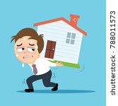businessman carrying heavy debt ...   Shutterstock .eps vector #788011573