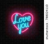 happy valentines day neon... | Shutterstock .eps vector #788024110