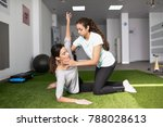 physical therapist assisting... | Shutterstock . vector #788028613