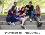 group of young people using... | Shutterstock . vector #788029513