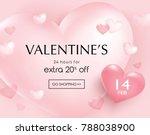 valentine's day sale poster... | Shutterstock .eps vector #788038900