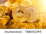 gold bitcoin coin. heap of gold.... | Shutterstock . vector #788052394