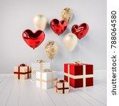 gift boxes with red and golden... | Shutterstock . vector #788064580