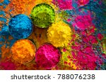 organic gulal colors in bowl... | Shutterstock . vector #788076238