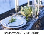festive wooden table decorated... | Shutterstock . vector #788101384
