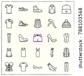 clothes line icons set shorts... | Shutterstock .eps vector #788103568
