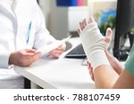 injured patient showing doctor... | Shutterstock . vector #788107459