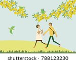 a couple walking with the... | Shutterstock .eps vector #788123230