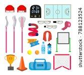 lacrosse icons set vector.... | Shutterstock .eps vector #788123524